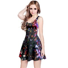Lit Christmas Trees Prelit Creating A Colorful Pattern Reversible Sleeveless Dress
