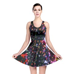 Lit Christmas Trees Prelit Creating A Colorful Pattern Reversible Skater Dress