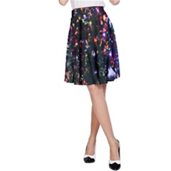 Lit Christmas Trees Prelit Creating A Colorful Pattern A-Line Skirt
