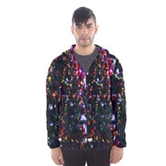 Lit Christmas Trees Prelit Creating A Colorful Pattern Hooded Wind Breaker (Men)