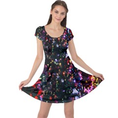 Lit Christmas Trees Prelit Creating A Colorful Pattern Cap Sleeve Dresses