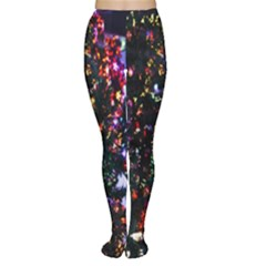 Lit Christmas Trees Prelit Creating A Colorful Pattern Women s Tights