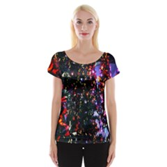 Lit Christmas Trees Prelit Creating A Colorful Pattern Women s Cap Sleeve Top