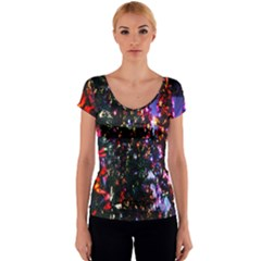 Lit Christmas Trees Prelit Creating A Colorful Pattern Women s V-Neck Cap Sleeve Top