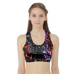 Lit Christmas Trees Prelit Creating A Colorful Pattern Sports Bra with Border