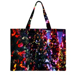 Lit Christmas Trees Prelit Creating A Colorful Pattern Zipper Large Tote Bag