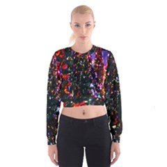 Lit Christmas Trees Prelit Creating A Colorful Pattern Women s Cropped Sweatshirt