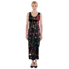 Lit Christmas Trees Prelit Creating A Colorful Pattern Fitted Maxi Dress