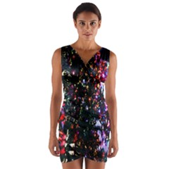 Lit Christmas Trees Prelit Creating A Colorful Pattern Wrap Front Bodycon Dress