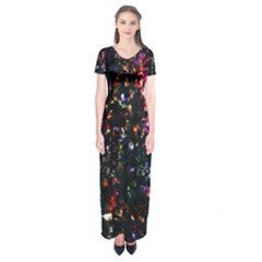 Lit Christmas Trees Prelit Creating A Colorful Pattern Short Sleeve Maxi Dress