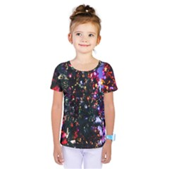 Lit Christmas Trees Prelit Creating A Colorful Pattern Kids  One Piece Tee