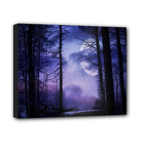 Moonlit A Forest At Night With A Full Moon Canvas 10  X 8