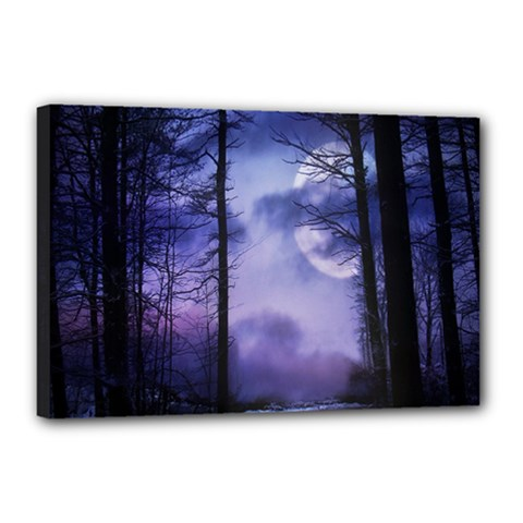 Moonlit A Forest At Night With A Full Moon Canvas 18  X 12