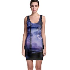 Moonlit A Forest At Night With A Full Moon Sleeveless Bodycon Dress