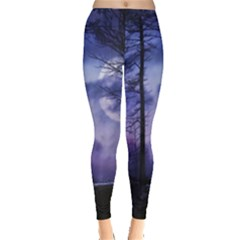 Moonlit A Forest At Night With A Full Moon Leggings