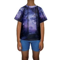 Moonlit A Forest At Night With A Full Moon Kids  Short Sleeve Swimwear