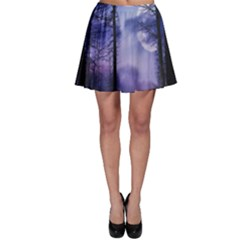Moonlit A Forest At Night With A Full Moon Skater Skirt