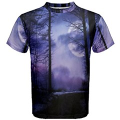 Moonlit A Forest At Night With A Full Moon Men s Cotton Tee