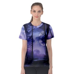 Moonlit A Forest At Night With A Full Moon Women s Sport Mesh Tee
