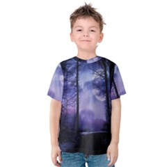 Moonlit A Forest At Night With A Full Moon Kids  Cotton Tee