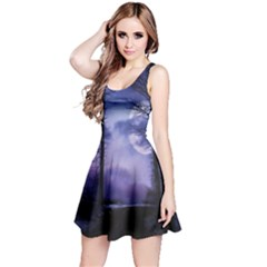 Moonlit A Forest At Night With A Full Moon Reversible Sleeveless Dress