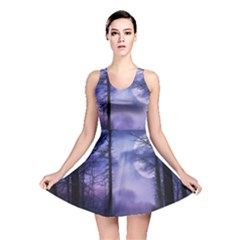 Moonlit A Forest At Night With A Full Moon Reversible Skater Dress