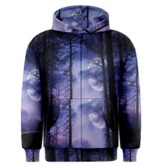 Moonlit A Forest At Night With A Full Moon Men s Zipper Hoodie