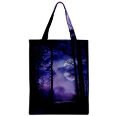 Moonlit A Forest At Night With A Full Moon Zipper Classic Tote Bag