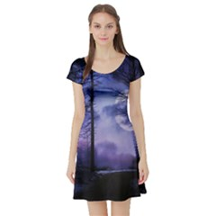 Moonlit A Forest At Night With A Full Moon Short Sleeve Skater Dress