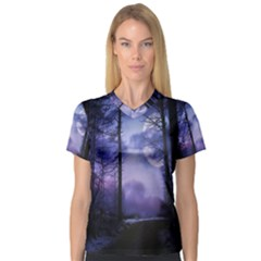 Moonlit A Forest At Night With A Full Moon Women s V Neck Sport Mesh Tee