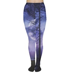 Moonlit A Forest At Night With A Full Moon Women s Tights