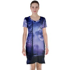 Moonlit A Forest At Night With A Full Moon Short Sleeve Nightdress