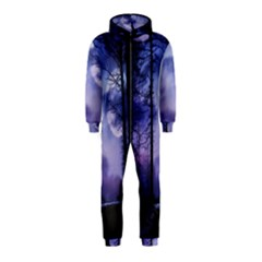 Moonlit A Forest At Night With A Full Moon Hooded Jumpsuit (kids)