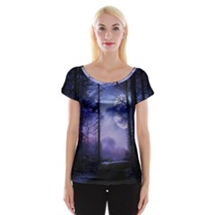Moonlit A Forest At Night With A Full Moon Women s Cap Sleeve Top