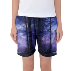Moonlit A Forest At Night With A Full Moon Women s Basketball Shorts