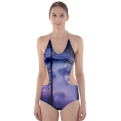 Moonlit A Forest At Night With A Full Moon Cut Out One Piece Swimsuit