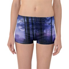 Moonlit A Forest At Night With A Full Moon Reversible Bikini Bottoms