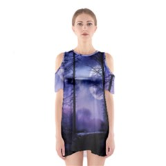 Moonlit A Forest At Night With A Full Moon Shoulder Cutout One Piece