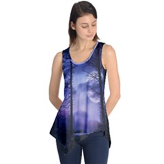 Moonlit A Forest At Night With A Full Moon Sleeveless Tunic