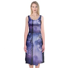 Moonlit A Forest At Night With A Full Moon Midi Sleeveless Dress