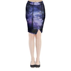 Moonlit A Forest At Night With A Full Moon Midi Wrap Pencil Skirt