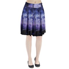 Moonlit A Forest At Night With A Full Moon Pleated Skirt