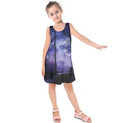 Moonlit A Forest At Night With A Full Moon Kids  Sleeveless Dress