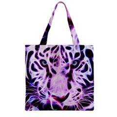 Fractal Wire White Tiger Grocery Tote Bag
