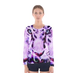 Fractal Wire White Tiger Women s Long Sleeve Tee
