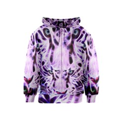 Fractal Wire White Tiger Kids  Zipper Hoodie