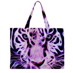 Fractal Wire White Tiger Zipper Mini Tote Bag