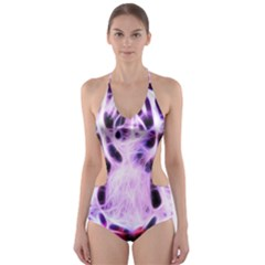 Fractal Wire White Tiger Cut-Out One Piece Swimsuit