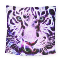 Fractal Wire White Tiger Square Tapestry (large)