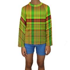 Multicoloured Background Pattern Kids  Long Sleeve Swimwear